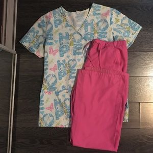 XS Scubb Star tinker bell scrubs/uniform